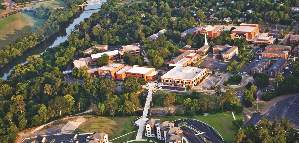 Campus of Ouachita Baptist University and waterfront in Arkadelphia, AR.  Taimerica facilitated a strategic plan for Clark County, AR in 2007, home to OBU.  Photo courtesy of Ouachita Baptist University